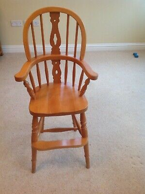Vintage Child Wooden High Chair Windsor Farmhouse Country Style
