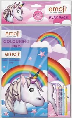 Emoji Unicorn Play Pack Colouring Pads Pencils Childrens Activity Set Party Bag