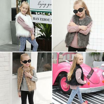 AM_ EG_ Kids Baby Girl's Toddler Faux Fur Winter Warm Vest Gilet Outerwear Coat