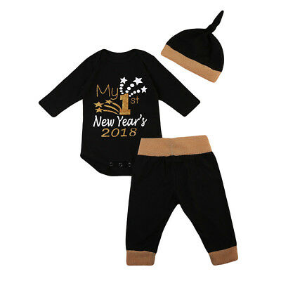 AM_ EG_ Christmas New Year Baby Boy Girls Romper Pants Beanie Outfits Clothes Se