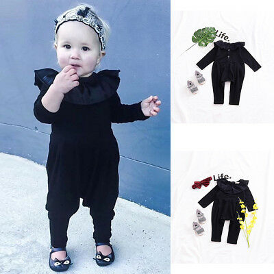 AM_ EE_ EG_ Baby Girls Ruffled Long Sleeve Romper Soft Toddler Solid Color Jumps