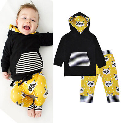 AM_ EG_ Cute Cartoon Fox Stripe Toddler Baby Boys Girls Hoodie Pants Warm Outfit