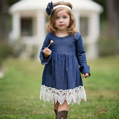 Am_ Eg_ Fashion Baby Kids Girl Lace Skirt Long Flare Sleeve One-Piece Party Dres