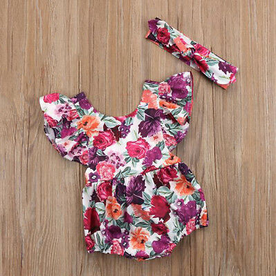 AM_ EG_ HK- Colorful Rose Ruffle Shoulder Sleeveless Baby Girl Romper with Hairb