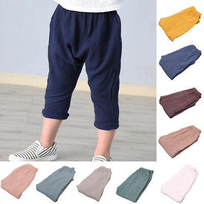 Am_ Cn_ Baby Boy Girl Toddler Clothes Cotton Leisure Trousers Plain Harem 0-6 Ye