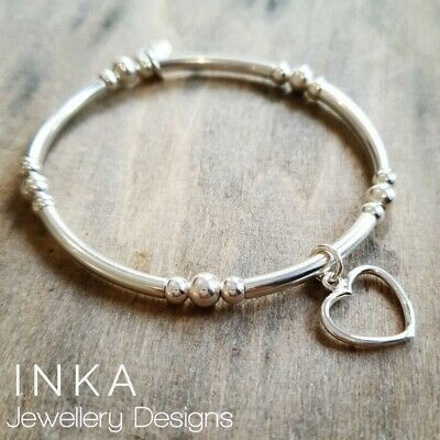 Inka 925 Sterling Silver chunky noodle Stacking Bracelet with a open heart charm