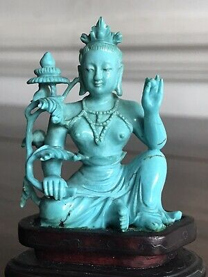 Antique 19th Cent Chinese Carved Turquoise Buddhistic  Deity Qing Figure Statue