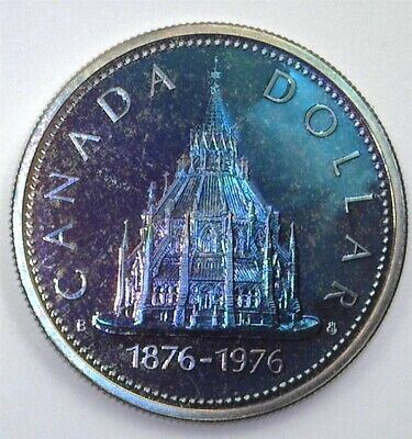 Canada 1976 Parliament Library Silver Dollar Perfect Specimen Pl Rainbow Toning!
