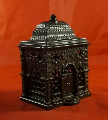 Vintage Antique Large Cast Iron Bank Building Coin Bank Great Condition