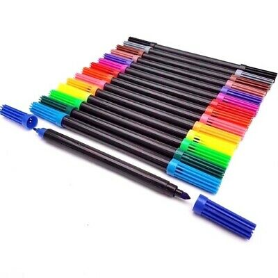 Dual Tip Double Ended Felt Tipped Pens Fine//Thin Thick Duel Colouring 12