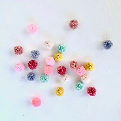 24 wool yarn pom poms mix colours pink green yellow grey pastels crafts