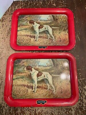Vintage 1940's Metal Pointer Hunting Dog Serving Tray by Ole Larson Set of 2