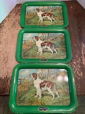 Vintage 1940's Metal Springer Spaniel Dog Serving Tray by Ole Larson Set of 3