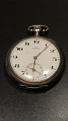 Antique 19th C Solid Silver Rose Gold Gilded Omega Pocket Fob Watch Working Mint