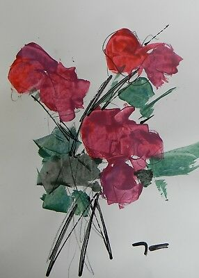 JOSE TRUJILLO - ACRYLIC PAINTING ABSTRACT Floral Red Roses Bouquet ORIGINAL ART
