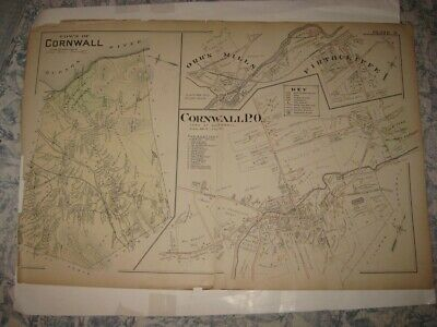 Antique 1903 Cornwall Firthcliffe Orange County New York Handcolored Map Rare Nr
