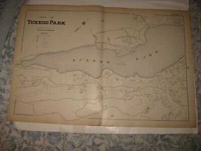 Antique 1903 Tuxedo Park Village Orange County New York Handcolored Map Superb