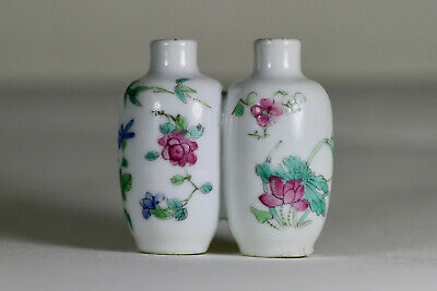 Antique Chinese Qing 19th Century Famille Rose Double Snuff Bottle Cricket Mark