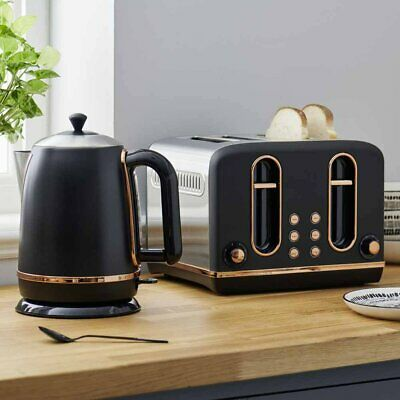 4 Slice Electric Toaster And Kettle Black & Copper Kitchen Breakfast Set Quality