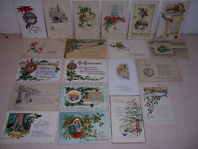 1908-1920s ANTIQUE VICTORIAN CHRISTMAS GREETINGS POSTCARD LOT of 20 DIFF. #2