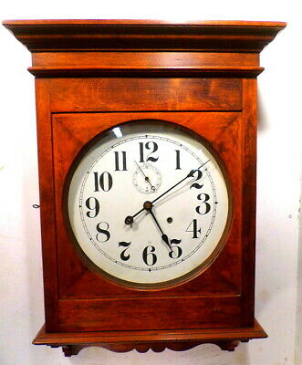HUGE Seth Thomas 15 or 30 Day Walnut Library Clock 30 1/2 x 19 3/4 Inches