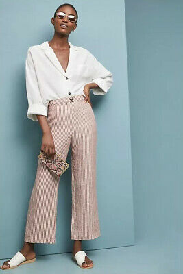 NEW Mara Hoffman Striped Linen Trousers Pants Size 8 Red