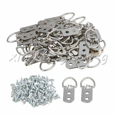 50PCS D-Ring Photo Picture Frame Hooks Mirror Wall Hangings Hangers 53x22mm