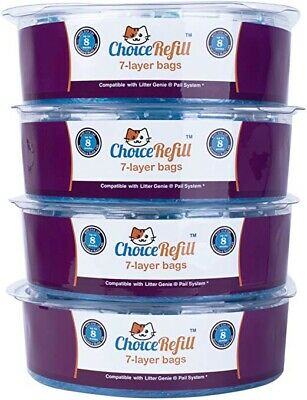 4 Pack ChoiceRefill Compatible W/ Litter Genie Pail System Bags Refills