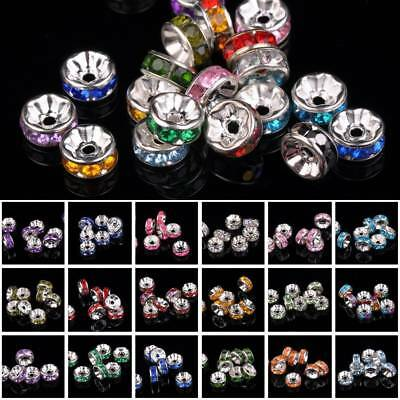 50pcs 8mm Rondelle Metal & Acrylic Rhinestones Loose Crafts Spacer Beads lot