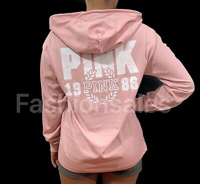 Victorias Secret PINK Hooded Long Sleeve Pullover Lightweight Tee Top Pale Pink
