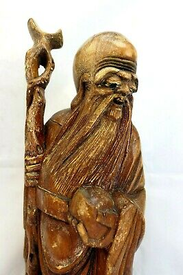 Chinese Wise man Hand Carved Figurine Statue God Buddha Wooden Antique