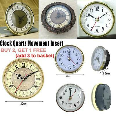 NEW Roman Quartz Clock Movement Insert Numeral White Face Gold Trim 65mm/190mm