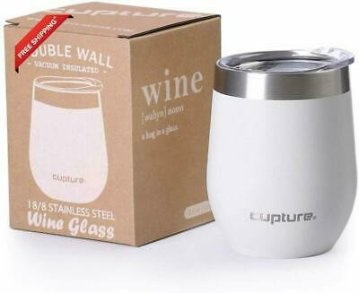Cupture Stemless Wine Tumblers 12 oz Vacuum Insulated Mug with Lids - 18/8 Stain