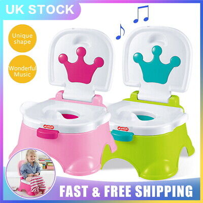 UK 3 in1 Baby Toilet Trainer Child toddler Music Potty Urinal Training Chair Kid