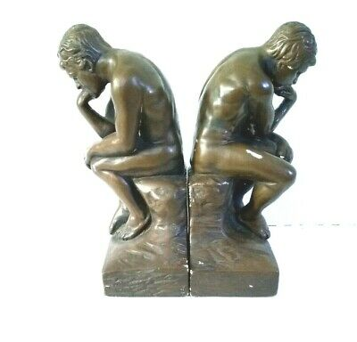 Bookends THINKING MAN Pair Of Ceramic Decor Sculpture Bookends Statue Replica!!!