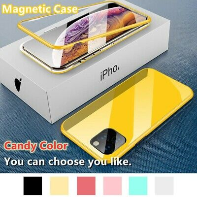 For iPhone 11 Pro Max XR X 8 7 6s+ Magnetic Metal Tempered Front Back Glass Case