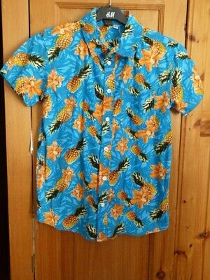 Boys Peacocks Urban Outlaw Blue Top with Pineapple Print Age 12 Years