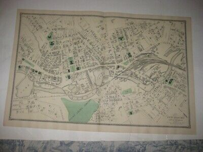 Mint Antique 1870 Fitchburg City Worcester County Massachusetts Handcolored Map