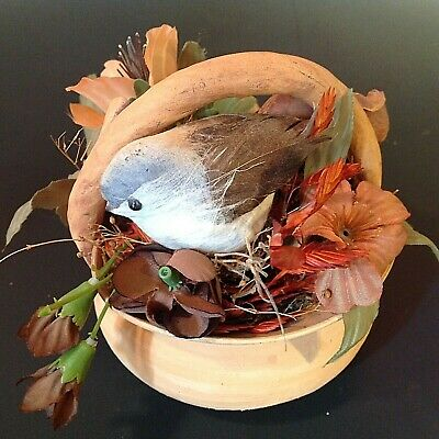 Hand Crafted Handled Basket. By David Heger N.y. Paper Bird With Flowers