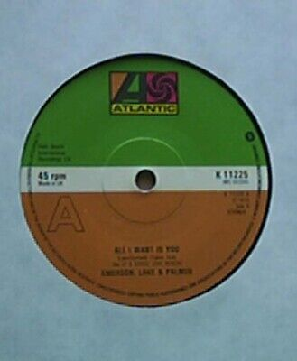 """Emerson, Lake And Palmer All I Want Its You 7"""" 1978 With Tiger In A Spotlight Uk"""