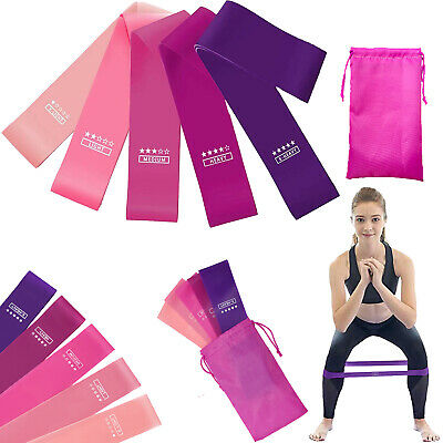 Resistance Heavy Duty Bands Set of 5 Exercise Yoga Booty Glutes Latex Loop Band