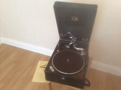 Vintage His Masters Voice Portable Gramophone Model 102 + Instructions