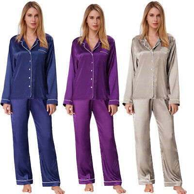 Zexxy Ladies Satin Pyjama Set Silky Spring Lounge Wear Pajamas Long Ssleeve Pj's