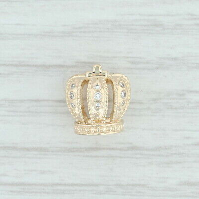 Authentic Pandora Diamond Royal Crown Charm - 750453D 14k Gold Retired Bead