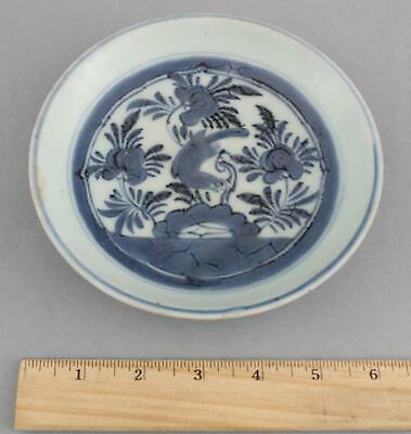 Antique Signed Qing Dynasty Chinese Celadon Blue & White Pottery Dish Plate