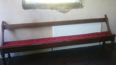Antique Tram Style Church Pew with Original Fabric - 9 ft Long
