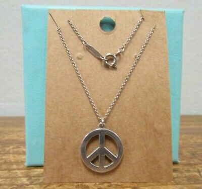 Tiffany & Co. Sterling Silver PEACE SIGN PENDANT CHARM Chain Necklace Silver
