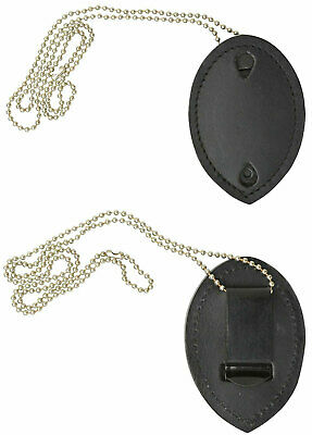 Leather Badge Holder w/Neck Chain Strap for Sheriff Police Officer Security Fire