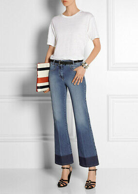Sonia Rykiel High Rise Relaxed Wide Leg Flare Ankle Jean, Medium Wash - Size 38