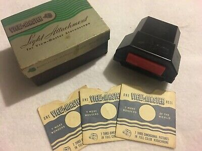 View-Master Model Light Attachment In Original Box 3 EMPTY SLEEVES